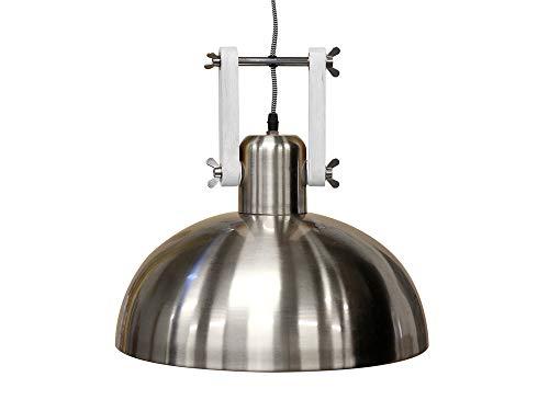 Suspension dôme en bois et métal diamètre 38cm DEXTER gris,blanc gris,blanc