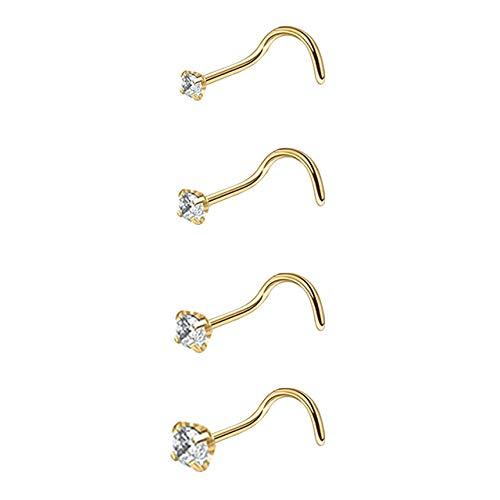 Pendientes de oreja estilo punk de acero inoxidable con clip de oreja falsos, pendientes de cristal para mujer, hombre, cartílago, labio, cuerpo (color metálico: 2)