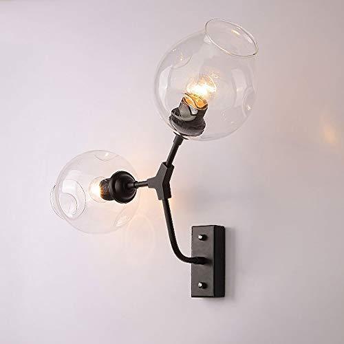 Sencillo pero bonito lámpara de pared Lámpara de mesa Lámpara de pared LED Desk creativo moderno de doble Pintado Hierro tienda de magia retro vidrio de la haba de pared de luz americana lámpara de pa