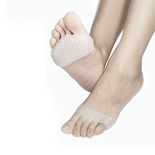 wkwk 5 Pairs of Honeycomb Forefoot Pads,Silicone Breathable Shock Absorption and Pain-Proof Foot Pads,Half Size Pads,high Heels Insoles,Heel Forefoot Pads,Breathable Foot Pads (White,Skin Color)