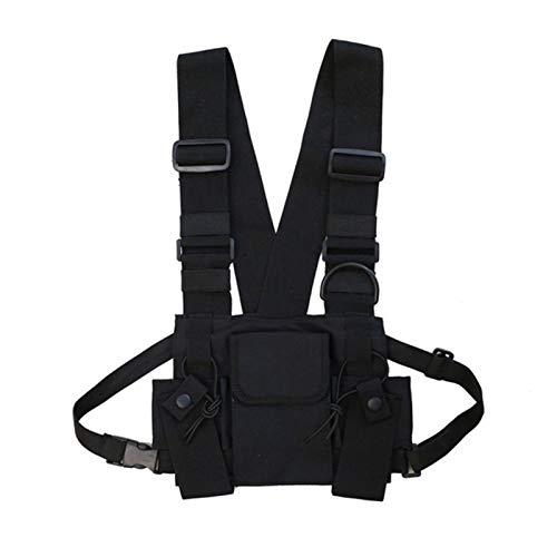 ALEOHALTER Bolsa de arnés para el pecho, bolsa de tela Oxford, bolsa de cintura tipo chaleco, bolsa tipo chaleco resistente al agua para senderismo, ciclismo (negro)