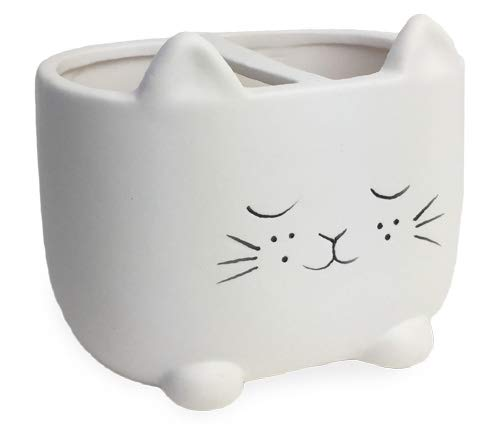 Isaac Jacobs White Ceramic Cat Makeup Brush Holder, Multi-Purpose 2-Section Organizer. Bathroom, Kitchen, Bedroom, Office Décor (2-Section Cup, Pastel White)