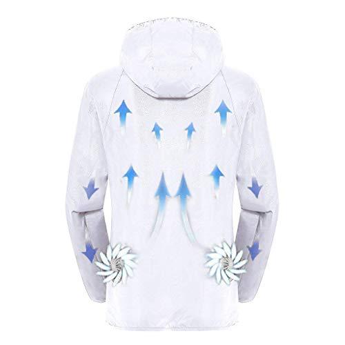 iMixCity Unisexe Costume de climatisation USB avec Usure Protection UV Ventilateur à 3 Vitesses Vêtements Refroidissement intelligents d'été pour Alpinisme Camping Pêche (Blanc, EU XL (Tag 4XL))