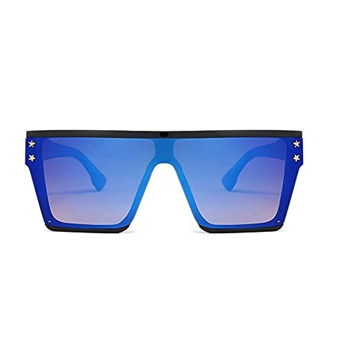 HAIGAFEW Gafas De Sol Cuadradas Mujer Estrella Gafas De Sol De Gran Tamaño Sombras Gafas Hombre Uv400 Proteger Los Ojos-Azul Negro