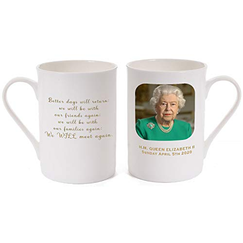 """We WILL meet Again"" Porcelain Bone China Mug showing a picture of Her Majesty the Queen when she delivered her inspirational speech to the nation during the Coronavirus crisis lockdown."