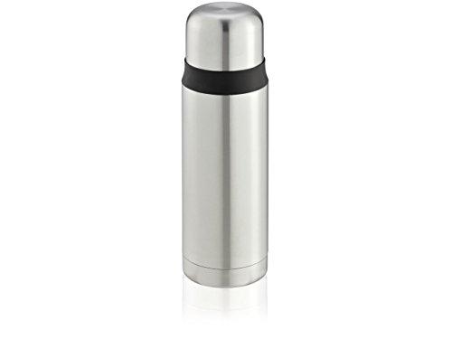 Leifheit Coco 0,5 L Isolierflasche Edelstahl, 100% dicht, Thermosflasche mit doppelwandigem Edelstahl-Isolierkörper, tropffreies Ausgießen mit einer Hand, schlag- und stoßfeste Trinkflasche, silber