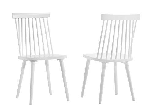 DUHOME Chaise Salle à Manger Lot de 2 en Bois laqué Design Retro Chaise scandinave avec Dossier Arrondi modèle Ellen, Couleur:Blanc, matière:Bois