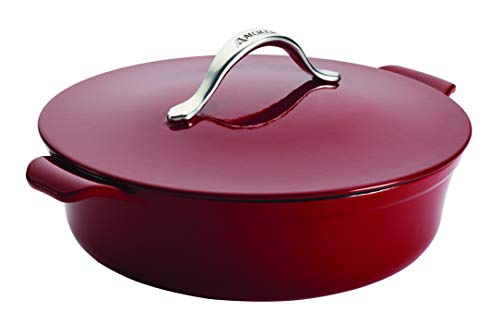 Anolon 51821 Vesta Braiser/Short Cast Iron Dutch Oven, 5 Quart, Paprika Red