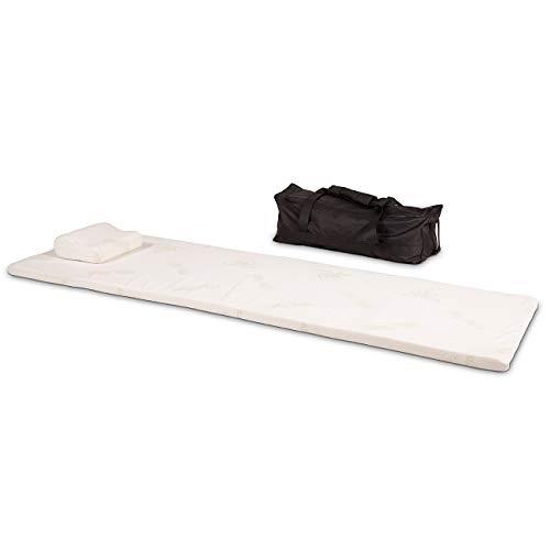 maxVitalis Schlaf Reise-Set 3 teilig: Visko-Matratzenauflage, Visko-Kopfkissen, hochwertige Transporttasche, 100% Visco, weiß, Visco-Topper: B 70 x L 200