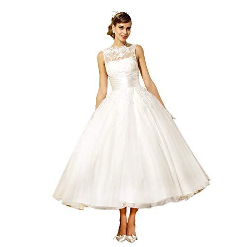 Vestido de boda para mujer, línea A, corto, de tul, vintage, largo...