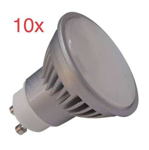 Pack 10x GU10 LED 7W potentisima. Color Blanco Calido (3000K). 680 lumenes reales - Recambio bombillas 60w