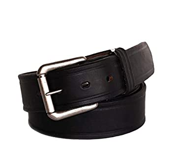 1-1/2  Full Grain Belt - Black - Size 46 - RGB-111 - USA Made - Oil Tanned Solid Thick Leather and Roller Buckle - R.G BULLCO