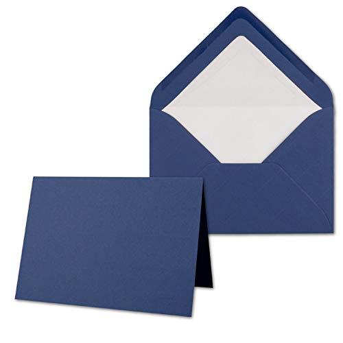 25 x Kartenpaket mit gefütterten Brief-Umschlägen - gerippt - DIN B6 - Dunkelblau - 12 x 17 cm - Nassklebung - NEUSER PAPIER