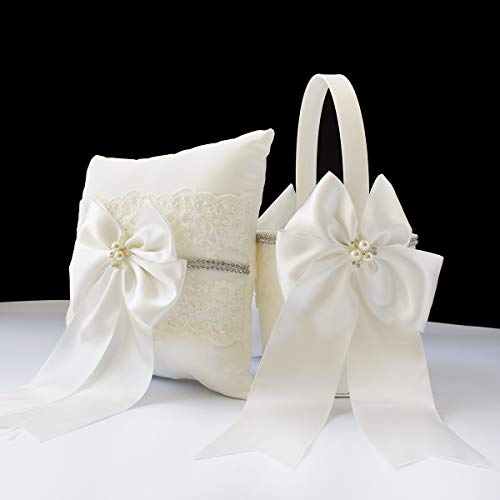ATAILOVE Wedding Flower Girl Basket and Ring Pillow Set, Royal Premium Series - Ivory