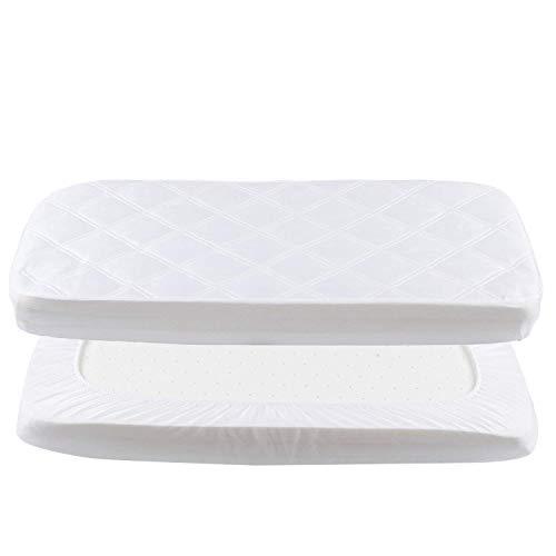 Baby Matratzenschoner Wasserdichte Spannbettlaken 50x90 cm Spannbetttuch Matratzenauflage Atmungsaktiv Bettlaken Laken für Beistellbett weiß YOOFOSS
