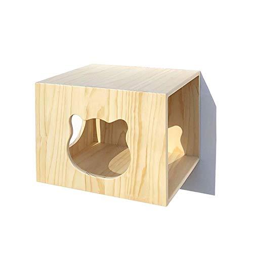 SHIJINHAO-Arbre à chat Multifonction Mural Échelle Bois Massif Combinaison Aléatoire Condo Plateforme De Saut Capsule Spatiale, 14 Styles (Color : Beige, Size : 40x33x30cm)