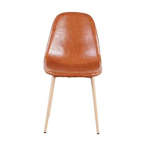 Sweethome – Juego de 4 sillas de comedor escandinavo vintage de piel sintética y patas de metal marrón (4 unidades)