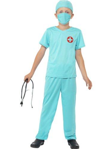 Smiffys Kinder Chirurg Kostüm, Oberteil, Hose, Mütze, Maske und Stethoskop, Größe: M, 41090