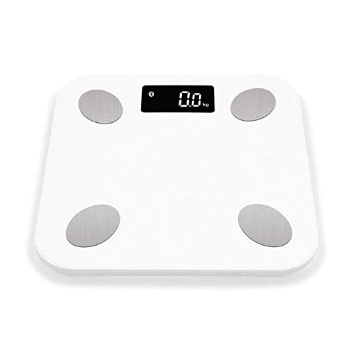 LQH Waage Körperfettwaage, Boden Scientific Smart Electronic LED Digital Gewicht-Badezimmer-Skala-Balance, Bluetooth App, 180Kg, Weiss