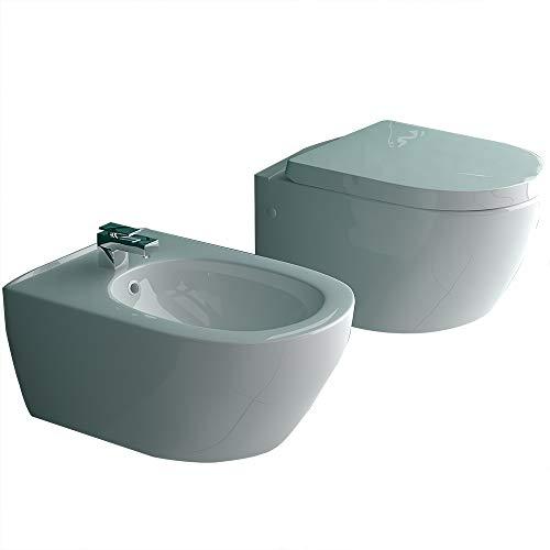 Randlos-Tiefspüler-Hänge-WC&Bidet mit Überlaufschutz&Quick-Release D-Form WC-Sitz mit Absenkautomatik | Komplett-Set | Kein Überspritzen durch innovative Wasserführung | passend zu GEBERIT