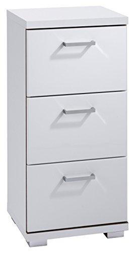 HOMEXPERTS Badezimmer Seitenschrank NUSA in Hochglanz weiß lackiert / kleiner Badschrank mit 3 Schubladen und silberfarbenen Griffen / 35.5 x 31.5 x 74 cm (B x T x H)