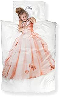 Snurk Duvet Cover Set Duvet Cover with Matching Pillowcase – 100% Cotton Duvet Cover and Pillow Case Set for Kids – Soft Cover Bedding for Your Little One – Life-Size Princess for Twin-Size Beds and