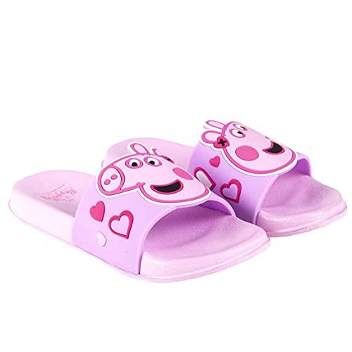 Chanclas de playa y playa para niña Peppa Pig   Detalles en relieve   Rosa   Tallas de 22 a 29 Rosa Size: 24/25 EU