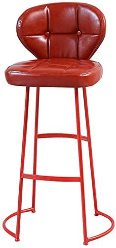 FEANG Taburete de Bar, Taburete de Hierro Forjado, cojín de Poliuretano, sillón para el hogar (Color: Rojo)