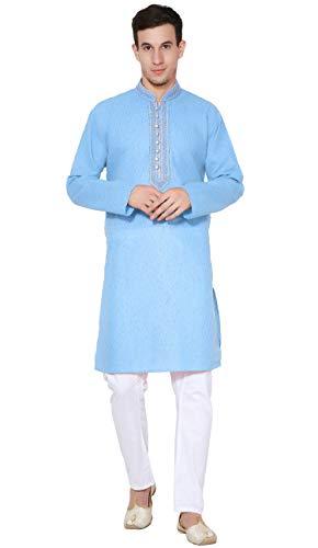 SKAVIJ Herren Baumwolle Sommer Kurta Pyjama Set Indisch Beiläufig Kleid (Türkis, XL)