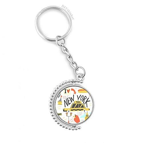 DIYthinker Men America New York City Liberty Illistratie Draaibare sleutelhanger Ring sleutelhouder 1,2 inch x 3,5 inch Multi kleuren