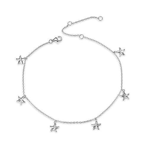YFN Boho Beach Starfish Anklet Charm Bracelet Sterling Silver Anklet Chain Bracelet Beach Foot Jewelry for Women Little Girls (Starfish Ankle Bracelet)