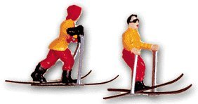 Cake Supply Shop 8 Pc 2' Skiers and Evergreen Trees Cake Topper Decoration Set