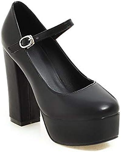 MENGLTX Sandalias Tacones Altos 2019 Recién Llegado De Mary Janes zapatos De Tacón Alto mujer PU zapatos De plataforma con Punta rojoonda Hebilla Fiesta De La Moda mujeres Bombas