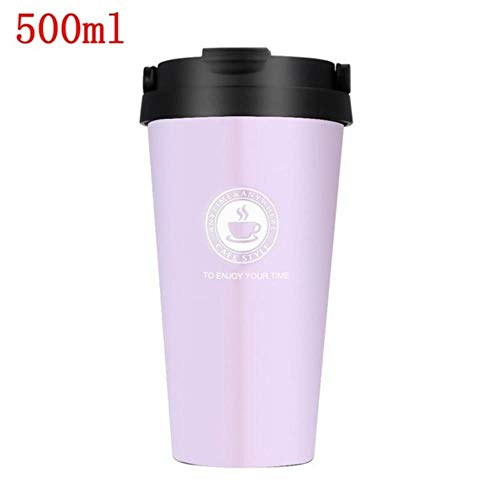 380/500 ml draagbare koffiemok thermosfles thermo waterfles auto mok thermocup roestvrijstalen thermoskan beker nieuw, roze