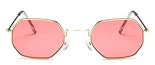 LOPIXUO Gafas de sol Señoras hexagonales sunglassemetal Mujeres Moda Sin monturaLentes de sol transparentes Gafas de sol, Oro rojo