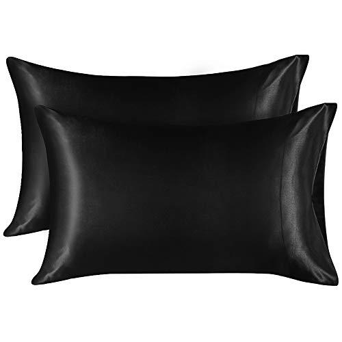 Lirex 2 Paquetes Funda Almohada Seda, King (50x101 cm) Size Microfibra de Color Sólido Suave Funda de Almohada de Seda, Sin Arrugas Resistente a la Decoloración Respirable - Negro