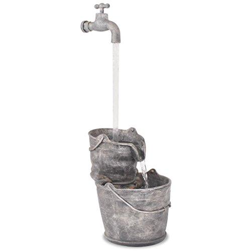 vidaXL Wasserspiel mit Hahn Eimern Pumpe Gewindebohrer Springbrunnen Zierbrunnen Gartenbrunnen Brunnen Innen Außen Polyresin Grau 34x32x91,5cm