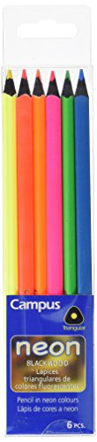 Campus University Neon - Lápices de colores neón, 6 unidades