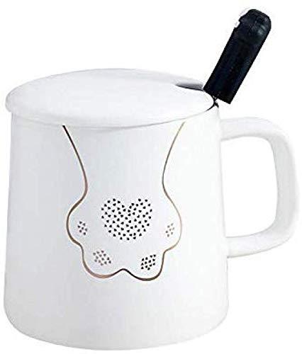 COOLSHOPY Nordic Té de la Taza de café Taza Oficina Regalo de la Taza Negro y Negro Que Bebe con Tapa Cuchara Pareja Copa Blanca Regalo
