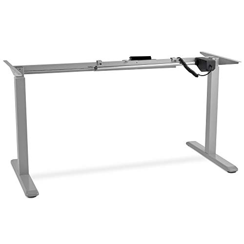 VonHaus Electric Stand Up Desk Frame with Motor Height and Width Adjustment Desk Converter/Riser with LED Touch Control and Cable Management, Lifts and Lowers Up to 174 Lbs - H48 X 63' W