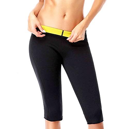 NOVECASA Pantalones Cortos Sauna Mujer Neopreno Sauna Pants Deportivo Alta Cintura para Sudoración Quema Grasa Adelgazante (S, Negro-Amarillo)