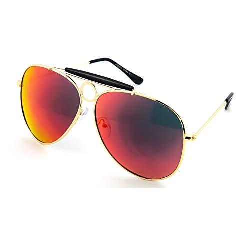 KISS Gafas de sol Aviador mod. LAS VEGAS - hombre mujer JOHNNY DEPP vintage espejado CULT MOVIE - NEGRO/Rojo