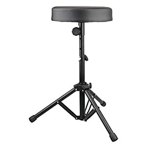 Drum Stool Adjustable Height Rotatable Drum Throne Padded Seat for Kid & Adult (Black)