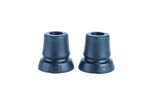 Activera - Juego de dos pies para bastón/muletas con superficie de apoyo grande para un diámetro de 22-24cm
