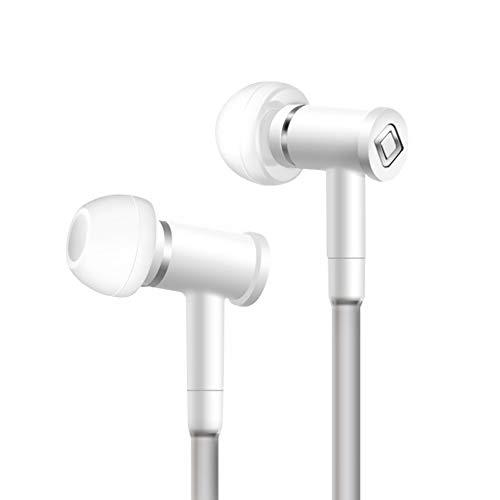 Aircom A1 Airtube Stereo Headsets mit Freisprechmikrofon , Micro Earbuds, Geräuschisolation Eartips, True Live Sound Zuhören für Handys, Tablets und MP3-Player (weiß)