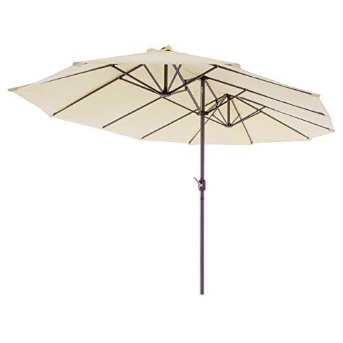 Nexos Doppelsonnenschirm XXL Sonnenschirm Creme mit Kurbel Oval Spannweite 4,65m Polyester 180g/m² Terrasse Marktschirm Riesenschirm Garten-Schirm