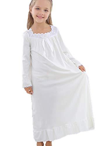 HOYMN Nachthemd Mädchen Kinder Weiss Prinzessin Langarm Kurzarm Schlafanzug Nachtwäsche Nightdress Sleepwear für 3-12 Jahre