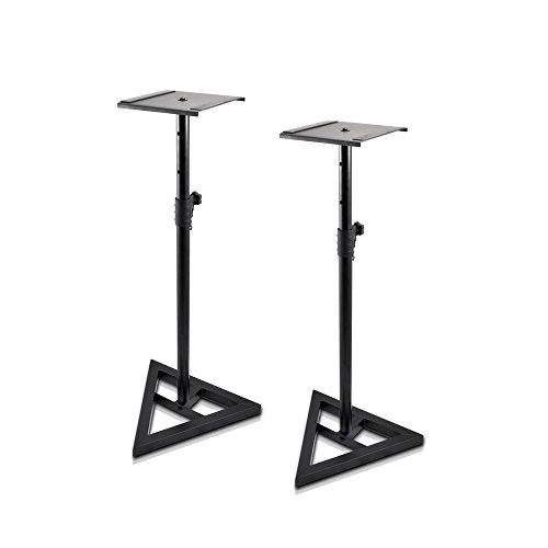 "Pyle Universal Monitor Speaker Stands - Heavy Duty Studio Speakers Holder 9"" Metal Square Platform 26"" - 52"" Telescopic Height Adjustment & Three-Point Triangle Base Plate w/ Floor Spikes - AZPSTND35"