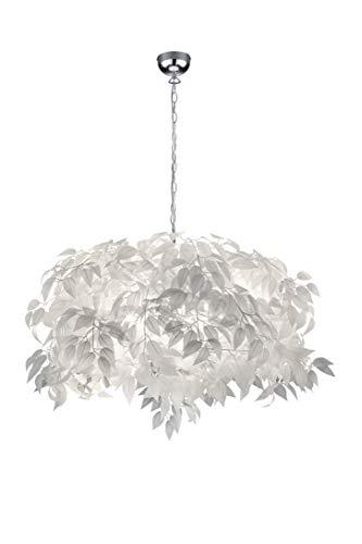 Reality Leuchten Pendelleuchte Leavy R10464001, Metall Nickel matt, Schirm Kunststoff weiß, 4 x E14