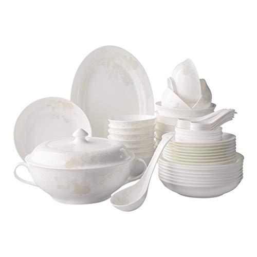 FVSDGG Dîner Combi-Set - 50pcs Set, Bols en Porcelaine, Assiette, cuillères, adapté aux Fours à Micro-Ondes, Lave-Vaisselle, Cabinet de désinfection